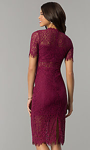 Image of short lace wedding-guest dress with short sleeves. Style: JTM-JML6912 Back Image
