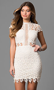 Lace Short High-Neck Graduation Dress with Sleeves