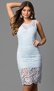 Knee Length Lace Graduation Party Dress