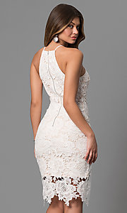 Image of knee-length floral lace graduation dress in off-white. Style: JTM-JMD6353-OW Back Image