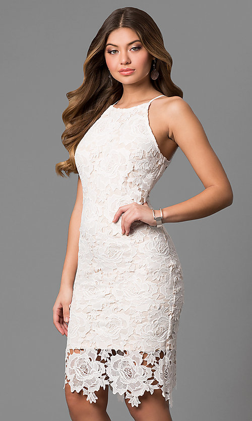 Image of knee-length floral lace graduation dress in off-white. Style: JTM-JMD6353-OW Front Image