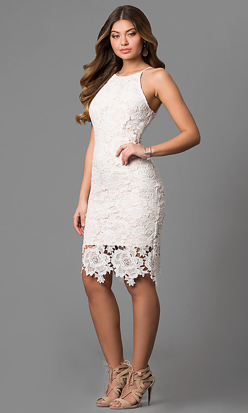 Image of knee-length floral lace graduation dress in off-white. Style: JTM-JMD6353-OW Detail Image 1