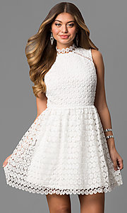 Short Off-White High Neck Lace Graduation Dress