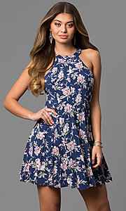 Floral Print Short Party Dress