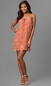 Image of short embroidered-lace casual party shift dress. Style: VJ-LD41614 Detail Image 3