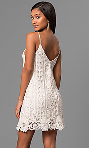 Image of short embroidered-lace casual party shift dress. Style: VJ-LD41614 Back Image
