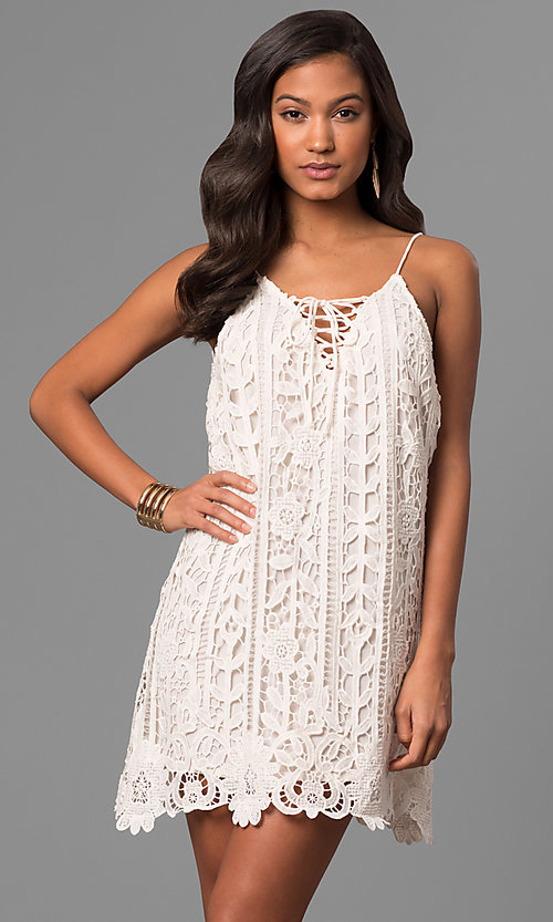 Image of short embroidered-lace casual party shift dress. Style: VJ-LD41614 Front Image