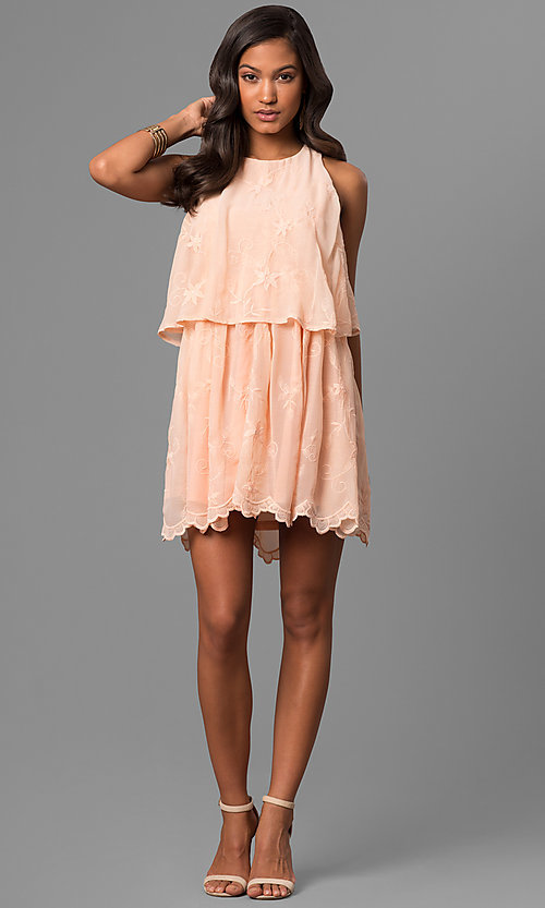Image of short chiffon party dress with floral embroidery. Style: VJ-LD41562 Detail Image 2