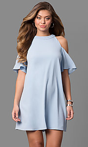 Short High Neck Short Sleeve Shift Party Dress