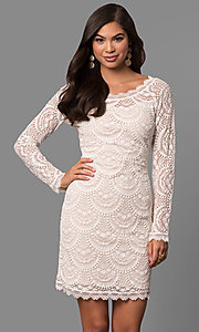 Long Sleeve Lace Graduation Dress with Scalloped Hem