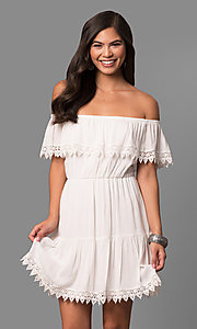 Short Off-the-Shoulder Graduation Dress
