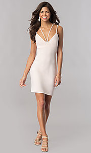Image of buff pink v-neck short party dress with empire waist. Style: MY-4584US1C Detail Image 1