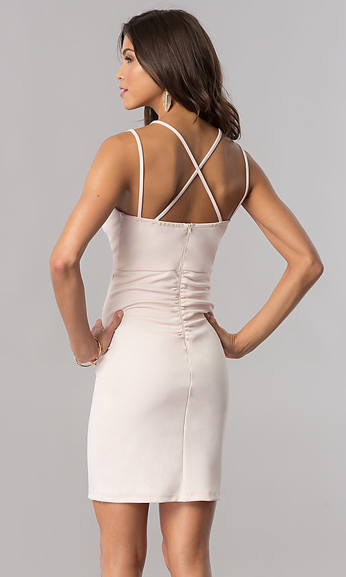 Image of buff pink v-neck short party dress with empire waist. Style: MY-4584US1C Back Image