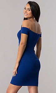 Off-the-Shoulder Short Party Dress in Royal Blue