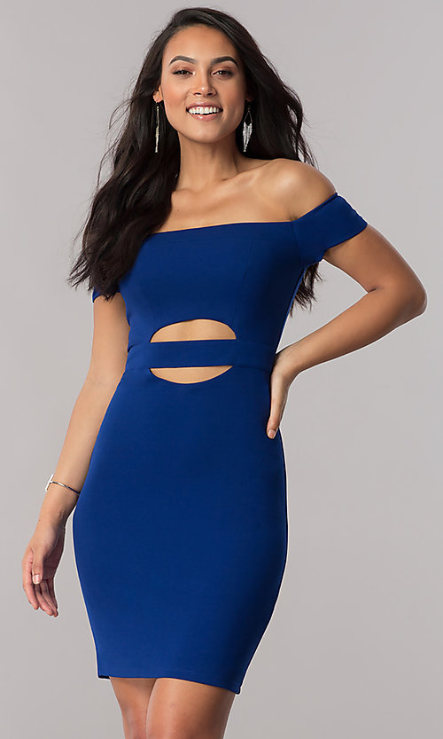 Image of off-the-shoulder short party dress in royal blue. Style: MY-4595US1C Front Image