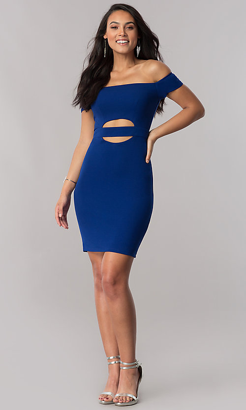 Image of off-the-shoulder short party dress in royal blue. Style: MY-4595US1C Detail Image 1