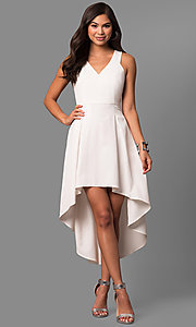 High-Low V-neck Party Dress with Box Pleats