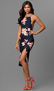 Image of floral print midi-length party dress with t-back. Style: LT-LD6182N Front Image