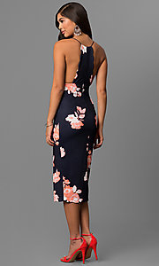 Image of floral print midi-length party dress with t-back. Style: LT-LD6182N Back Image