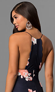Image of floral print midi-length party dress with t-back. Style: LT-LD6182N Detail Image 2