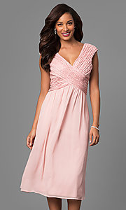 Knee-Length Short Bridesmaid Dress with Lace Bodice
