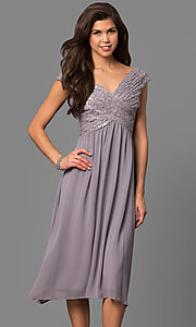 Image of knee-length short bridesmaid dress with lace bodice. Style: VR-BMANT443 Detail Image 2
