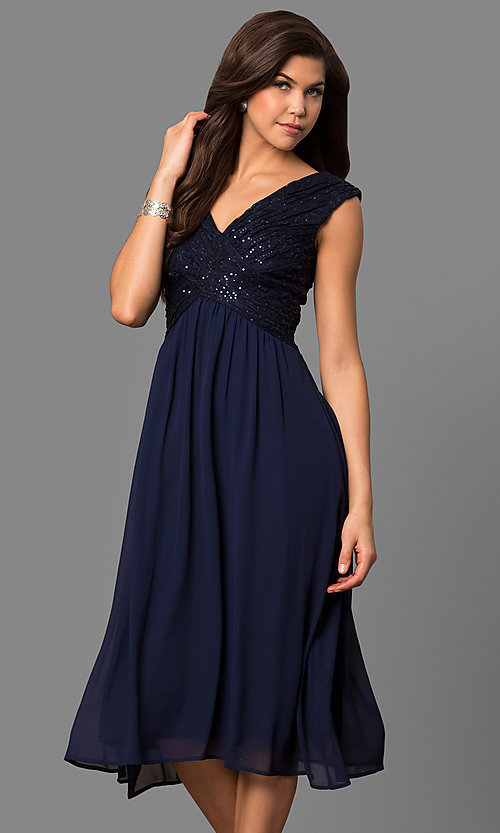 Image of knee-length short bridesmaid dress with lace bodice. Style: VR-BMANT443 Detail Image 1
