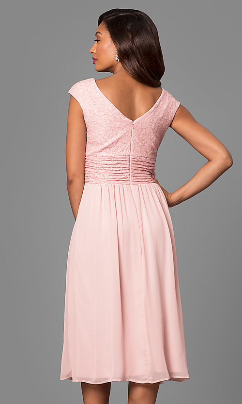 Image of knee-length short bridesmaid dress with lace bodice. Style: VR-BMANT443 Back Image