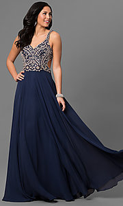 Long Beaded Bodice V-Neck Prom Dress