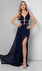 V-Neck Prom Dress with Illusion Cut Outs