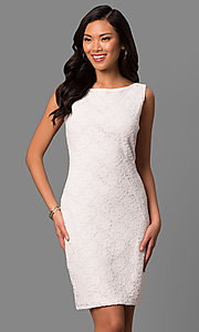 Bateau-Neck White Lace Short Day-to-Night Dress