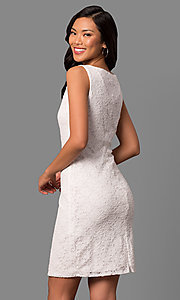 Image of bateau-neck white lace short day-to-night dress. Style: JU-TI-88832 Back Image