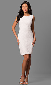 Image of bateau-neck white lace short day-to-night dress. Style: JU-TI-88832 Detail Image 1