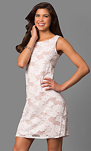 Short Lace Shift Dress with Contrasting Lining