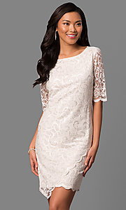 Ivory Lace Short-Sleeve Graduation Dress