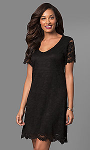 Black Short Shift Party Dress with Short Sleeves