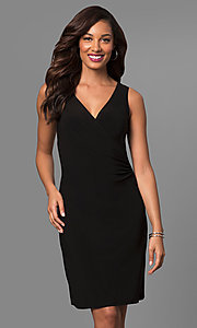 Black Short V-Neck Party Dress with Ruching
