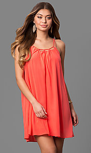 Short Scoop Neck Chiffon Shift Party Dress