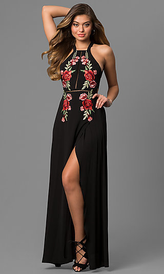 Embroidered Black Maxi Party Dress with High Neck.