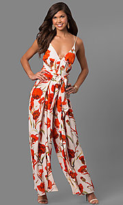 Floral-Print Open-Back Jumpsuit with Deep V-Neck