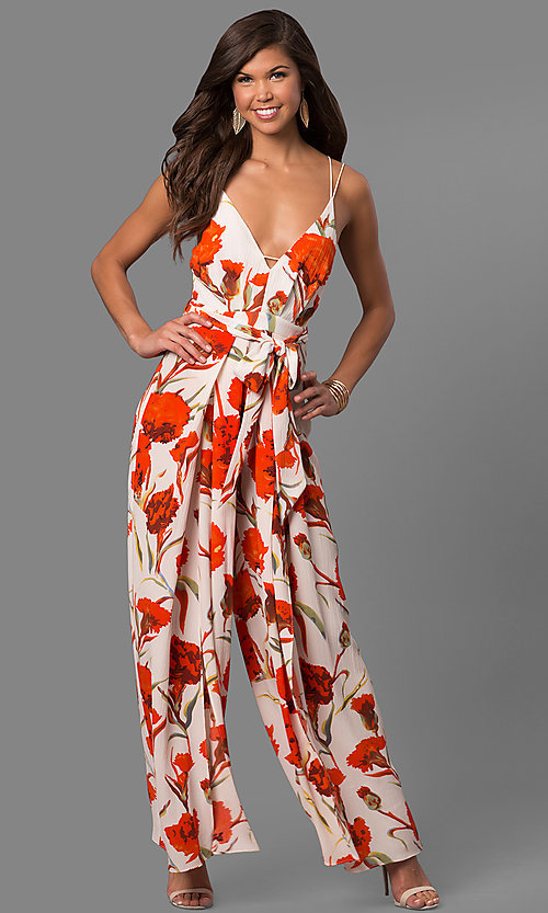 Image of floral-print open-back jumpsuit with deep v-neck. Style: LUX-LJP3680 Front Image