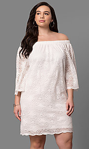 Off-the-Shoulder Short Shift Party Dress with 3/4 Sleeves