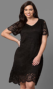 Short Lace Plus Size Party Dress with Short Sleeves