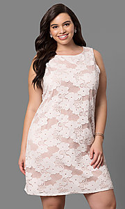 Plus-Size Lace Graduation Short Party Dress