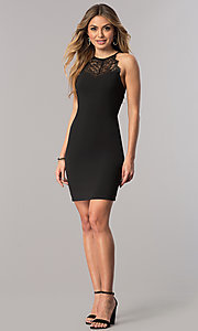 Image of high-neck short black party dress with illusion lace. Style: JU-10125 Detail Image 1