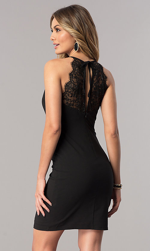 Image of high-neck short black party dress with illusion lace. Style: JU-10125 Back Image