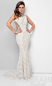 Long Open Back Lace High Neck Prom Dress