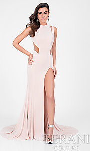 Long High Neck Prom Dress with Illusion Cut Outs