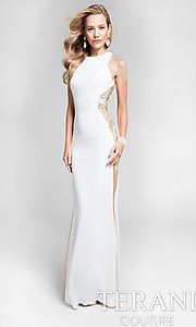 Long Ivory Jersey Prom Dress with Sheer Sides