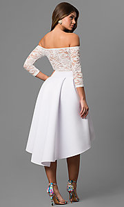 Image of high-low off-the-shoulder party dress with sleeves. Style: CL-45123 Back Image